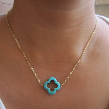 Turquoise Clover Necklace / 18 K Gold Plated Brass Chain