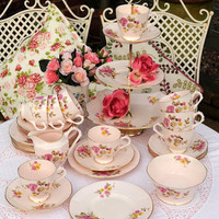 Pink Tuscan China Art Deco Tea Set and Cake Stand to buy