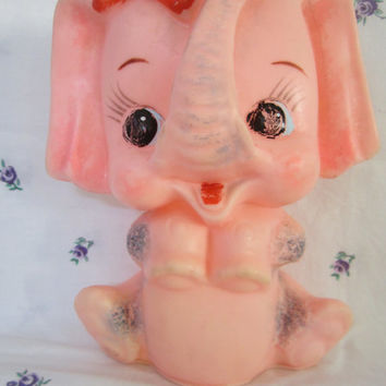 Rubber pink elephant squeak toy no makers mark