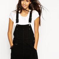 ASOS Denim Dungaree Short in Black with Raw Hem