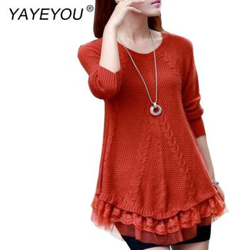 YAYEYOU Casual Women Sweater Dress O Neck Warm Women Sweater and Pullovers Long Sleeve Sweater Women Lace Knitted Sweaters