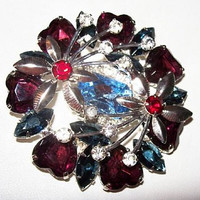 "Fashion Brooch Pin Purple Heart Rhinestones & Silver Red Flowers Layered 2 1/2"" Vintage"