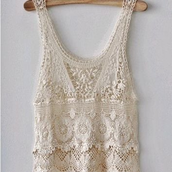 Free Vintage Crochet Yoke Patterns : Vintage Southwestern White Crochet Lace from ...