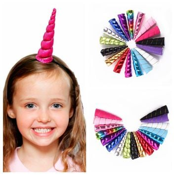 1PC 15cm Unicorn Horns Hairband Costume Headdress Colorful Hair Band Children Hair Accessories Birthday Party Gift