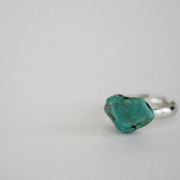 Raw Natural Turquoise Stone Ring
