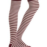 Red Combo Striped Over-the-Knee Socks by Charlotte Russe
