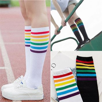 FishSunDay High Socks Over Knee Rainbow Stripe Girls Football Sport Socks Black White Drop shipping August16