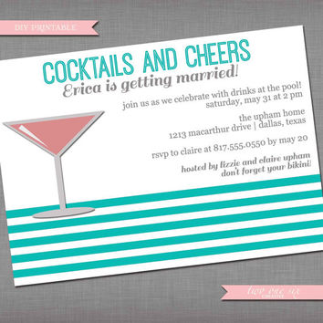 Cocktails and Cheers: Retro Pool Bachelorette Invitation - Customized Bachelorette Bridal Shower Invitation - Pool Day Invitation