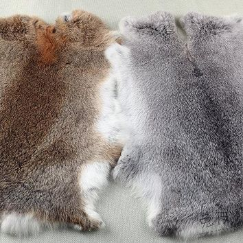 Rabbit skin tanned pelt high quality DIY material for craft  fur raw  white rabbit hide raw material