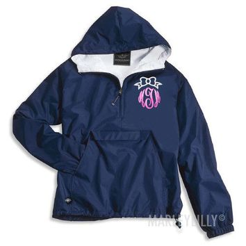 Monogrammed Bow Pullover Rain Jacket | Marleylilly