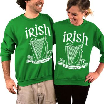 Irish, Erin Go Bragh, St. Patrick's Day Sweater, Unisex Crew Neck Sweatshirt, His and Hers Sweaters, Women's Clothing, Men's Clothing