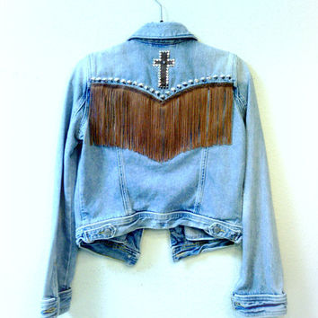 Denim Fringe Studded Jacket