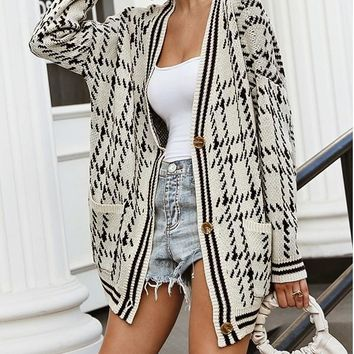 New Beige Black Plaid Buttons Pockets V-neck Casual Cardigan Sweater