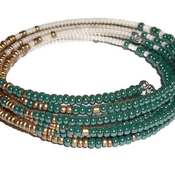 Teal, Gold & Cream Glass Beaded Artisan Crafted Wrap Statement Bracelet (XS-S)