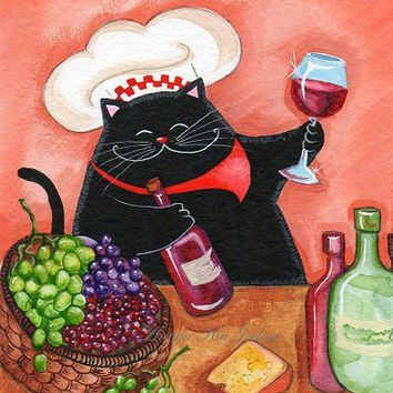 Sommelier  Wine Expert Cat by annya127 on Etsy