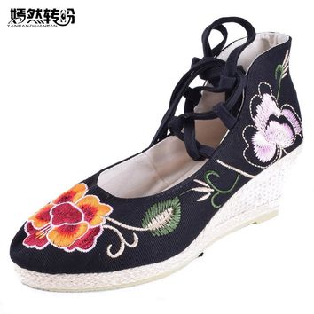 Vintage Women's Pumps National Wedges Shoes Retro Old Peking High Heeled Lace Up Canvas Flower Dance Soft Shoes