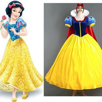 Free Shipping Adult halloween costumes for women Sexy Cartoon Princess Snow White Costume Outfit Fancy Dress Plus Size S-XL
