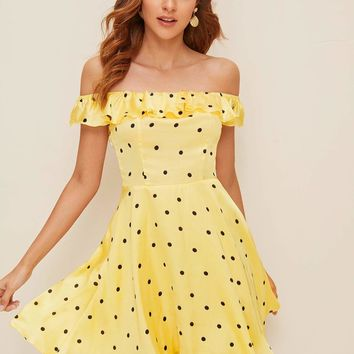 Polka Dot Shirred Back Ruffle Bardot Flare Dress