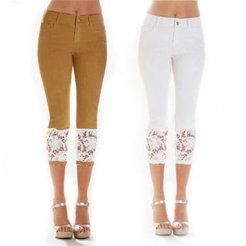 Women Fashion Crochet Lace Pencil Jeans Solid Color Skinny Cropped Pants