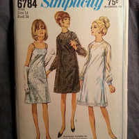 Uncut 1960's Simplicity Sewing Pattern, 6784! Size 14 bust 34 Medium/Women's/Misses/Sheer or Lace Overdress/Sleeveless Slip-Dress/Straps