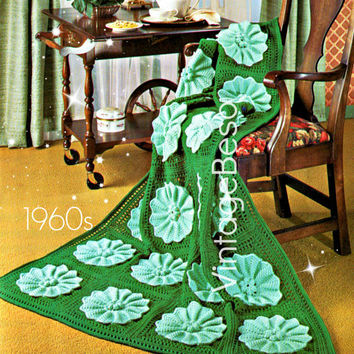 Water Lily Afghan CROCHET Pattern Flower Crochet Pattern ebook Water Lily Crochet Pattern Vintage 1960s Vintage Beso Instant Download PDF