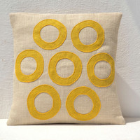 Yellow Pillow - Geometric Throw Pillows  - Burlap Pillow - Decorative applique cushion cover- Spring Throw pillow gift pillow 18X18