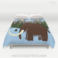 Woolly Mammoth Mountain Forest Bedding Duvet Cover Bed King Queen Bedroom Decor Wildlife Nature Green Prehistoric Elephant Little Boy Room