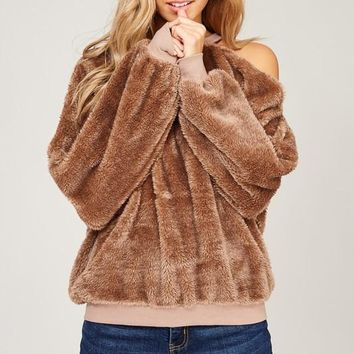 Shaggy Fur Sweater (Mocha)