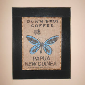 Framed Papua New Guinea Dunn Bros Coffee burlap Bag Art with Butterfly