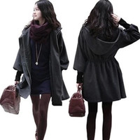 Hooded Belt Slim Thick Wool Long Sleeves Mid-length Coat