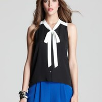 Aqua Blouse - Color Block Bow - Tops - Apparel - Women's - Bloomingdale's