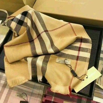 VONEA7H Burberry Ombré Check Lightweight Wool Silk Scarf**