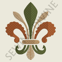 FLEUR de lis EMBROIDERY Design Hand Digitized 3 Sizes 8 Formats Instant Download
