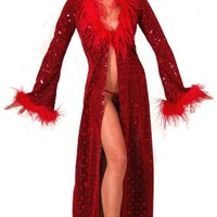 Sex Symbol Bell Sleeve Sequin Robe w/ Feather Trim #2-281 (Available in a Variety of Colors & Sizes), Small, Black