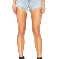 DENIM x ALEXANDER WANG Bite High Rise Frayed Jean Shorts in Bleach | REVOLVE