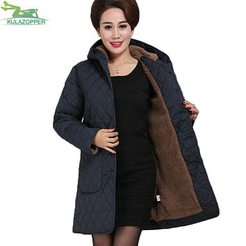 KULAZOPPER Women parka winter wool liner coat casual solid long warm hooded plus size outwear for female winter warm coat QW485