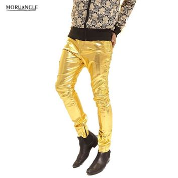 MORUANCLE Mens Faux PU Leather Pants Shiny Silver Black and Gold Pants Trousers Nightclub Stage Costumes for Singers Dancer Male