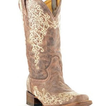 Corral Brown Crater Bone Embroidery Square Toe Western Boots A2663