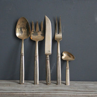 Glam Solid Brass Flatware Serving Set
