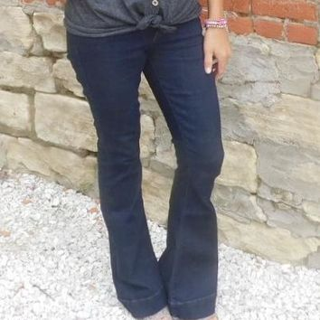 Kan Can Dark Wash Flare Jeans
