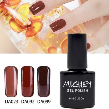 MICHEY Brown UV Nail Gel Polish Easy Saok Off  UV LED Nail Polish Lacquer Need Base Gel And Top Coat Gelpolish(DA080~DA108)