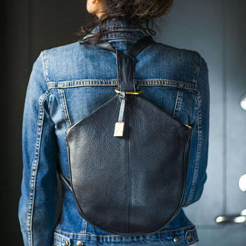 Navy backpack genuine leather. Modern city backpack for women. 90s Backpack minimalist. Vintage hipster bag sturdy soft leather dark blue