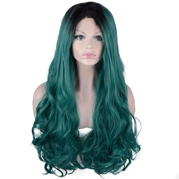 Lace front Wigs for Women Long Wavy Green Ombre Dark Roots Heat Resistant Glueless c Hair Wigs 24 inches