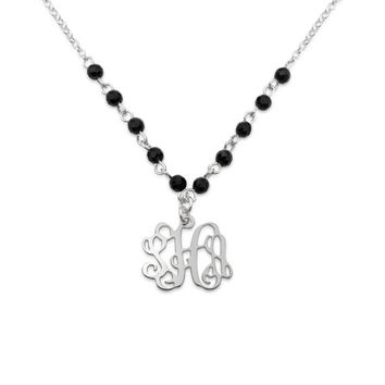 Small 925 Sterling Silver Monogram with onyx Beads Necklace