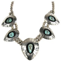Navajo Shadow Box Squash Turquoise Matrix Sterling silver Necklace