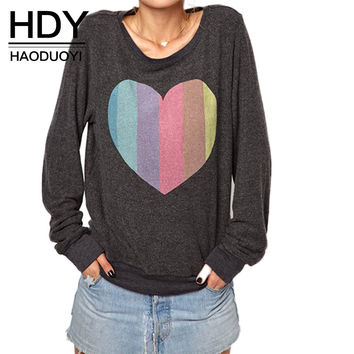Women Multicolor Loose Heart Print Casual Hoodies O-neck Long Sleeve Pullover Sweatshirt