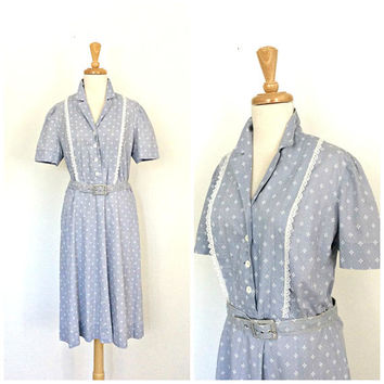 Vintage 60s dress - fit and flare - swing dress - cotton sundress - shirt waist - M L