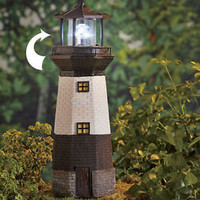 Solar Motion Lighthouse Statue Patio Garden Porch Lawn Light Yard Nautical Decor