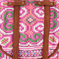 Large Exotic Pink Backpack Vintage Traditional Hand Stitched Textile