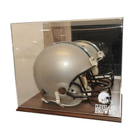 Cleveland Browns NFL Full Size Football Helmet Display Case (Wood Finish)